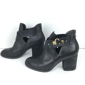 Isola Black Leather Heeled Booties